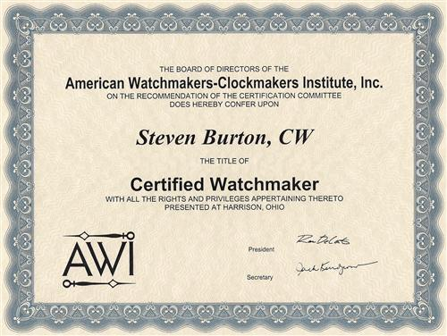 Certified Watch Maker certificate