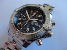 Breitling Super Avenger case and crown repair and refinish